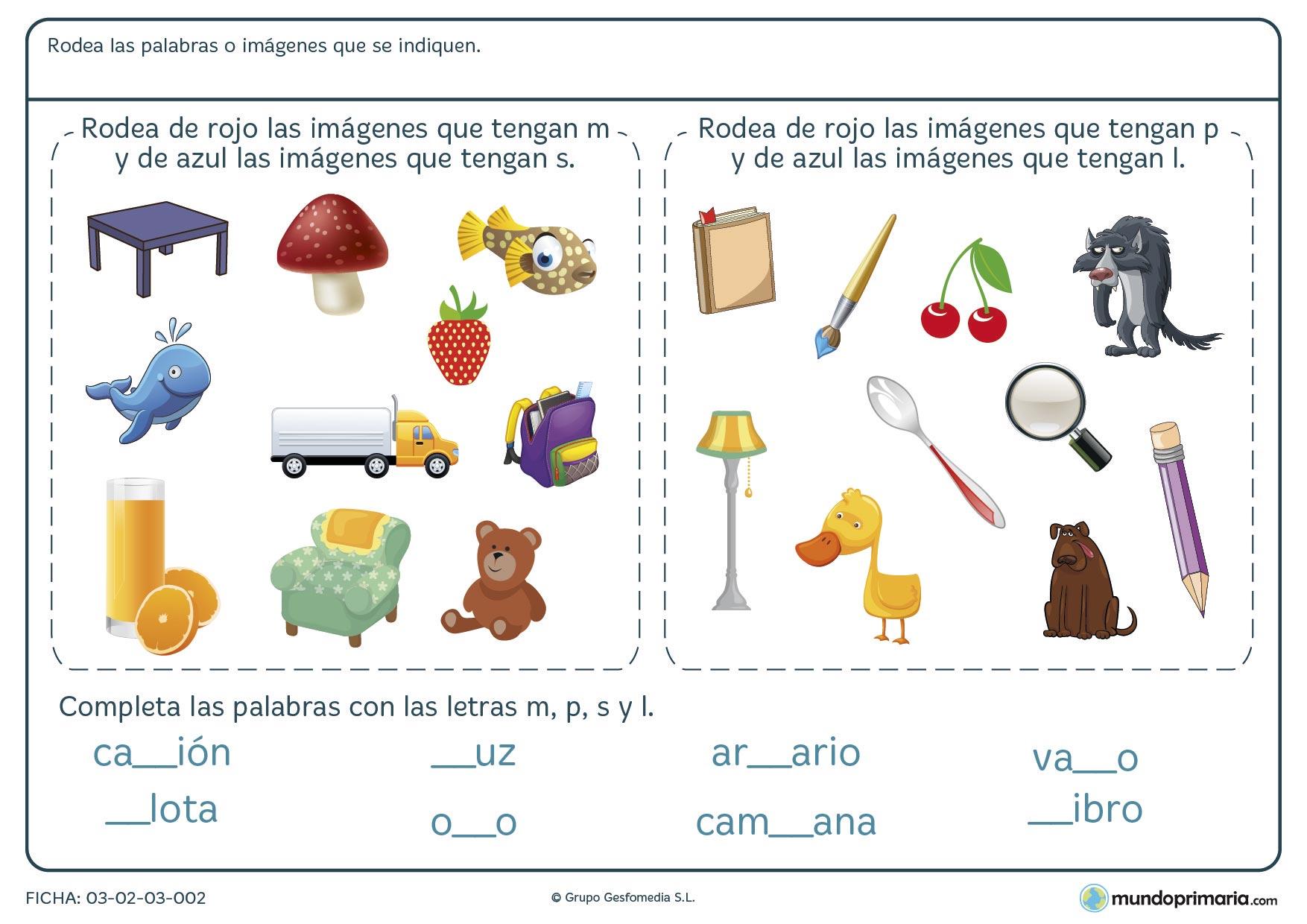 Ejercicios ortografía lengua para primero primaria