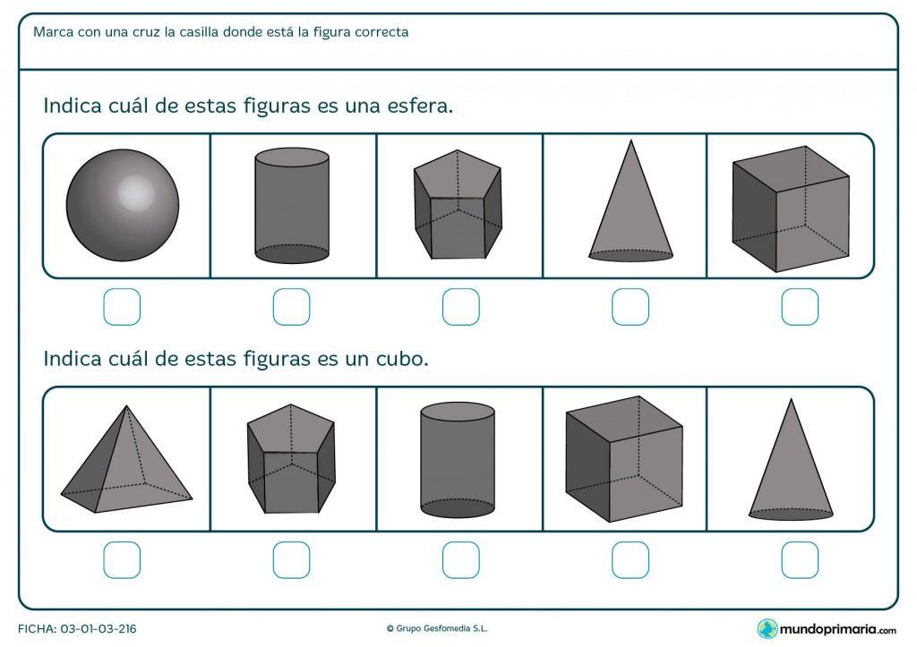 Ficha de señalar el cubo para primaria