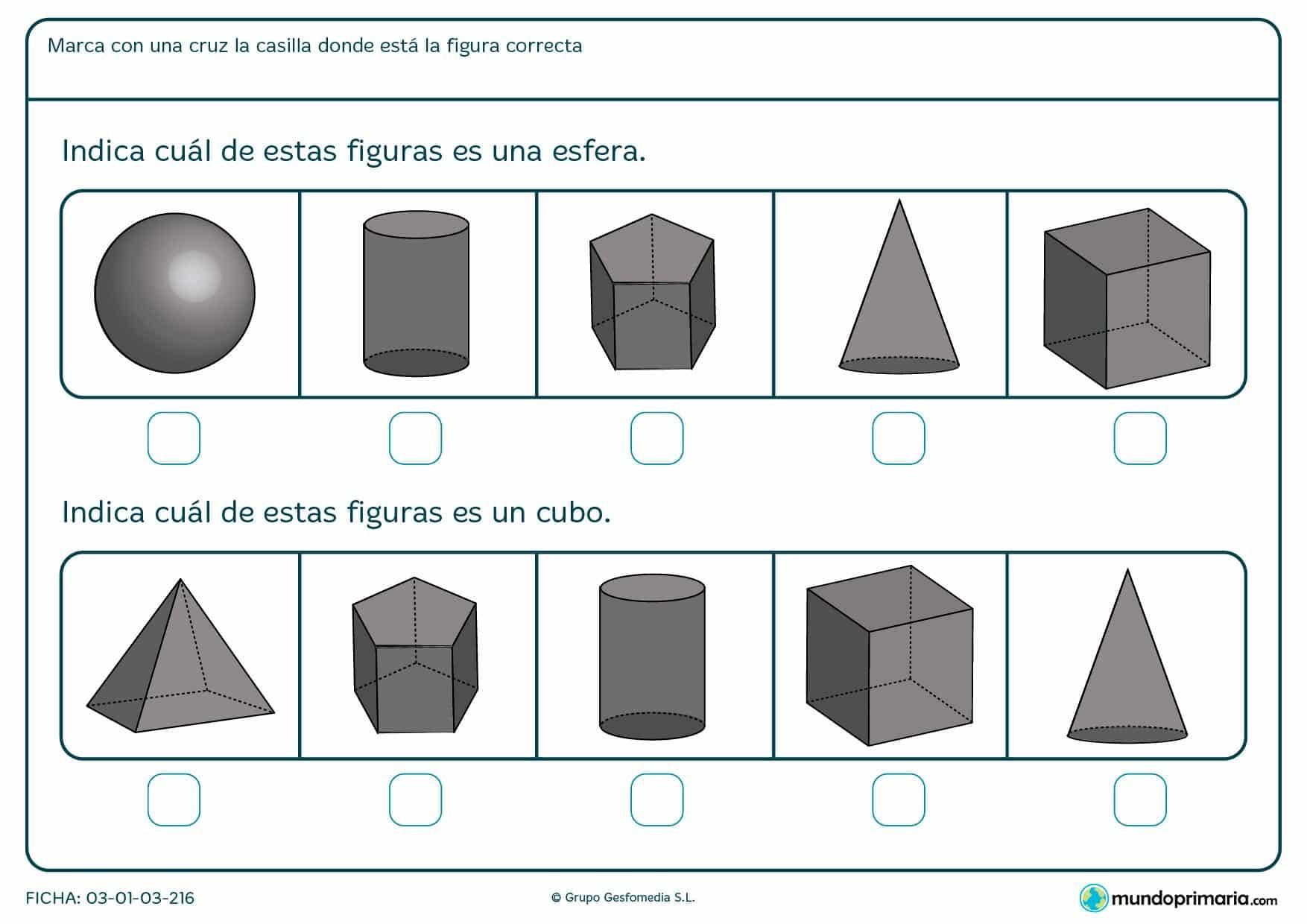 Ficha para niños de primero de primaria para aprender formas y señalas entre las distintas figura cuál es el cubo o la esfera.