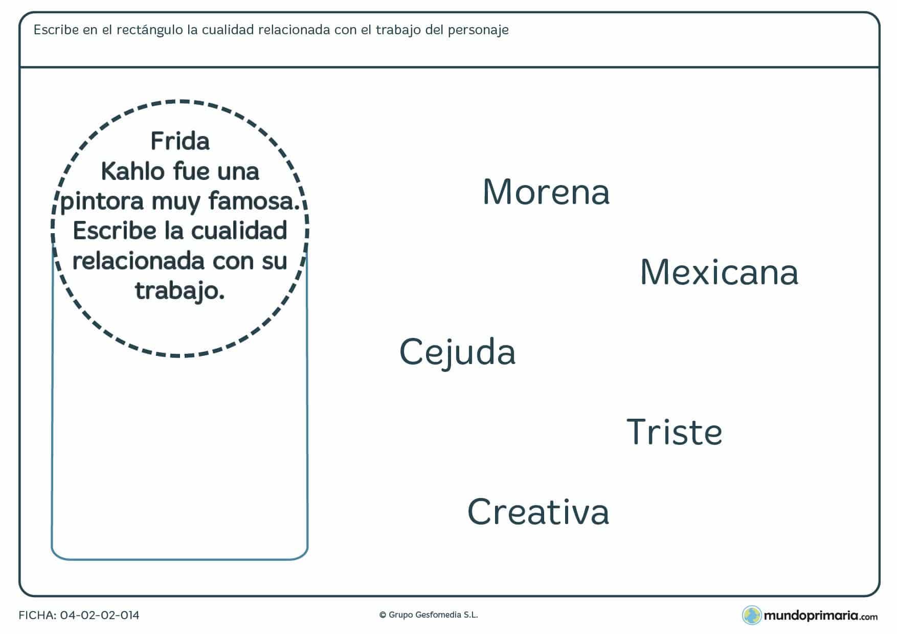 Ficha para niños de 7 a 8 años de señalar la característica para el personaje en la que tendrás que relacionar alguno de los adjetivos dados con la descripción de un personaje.