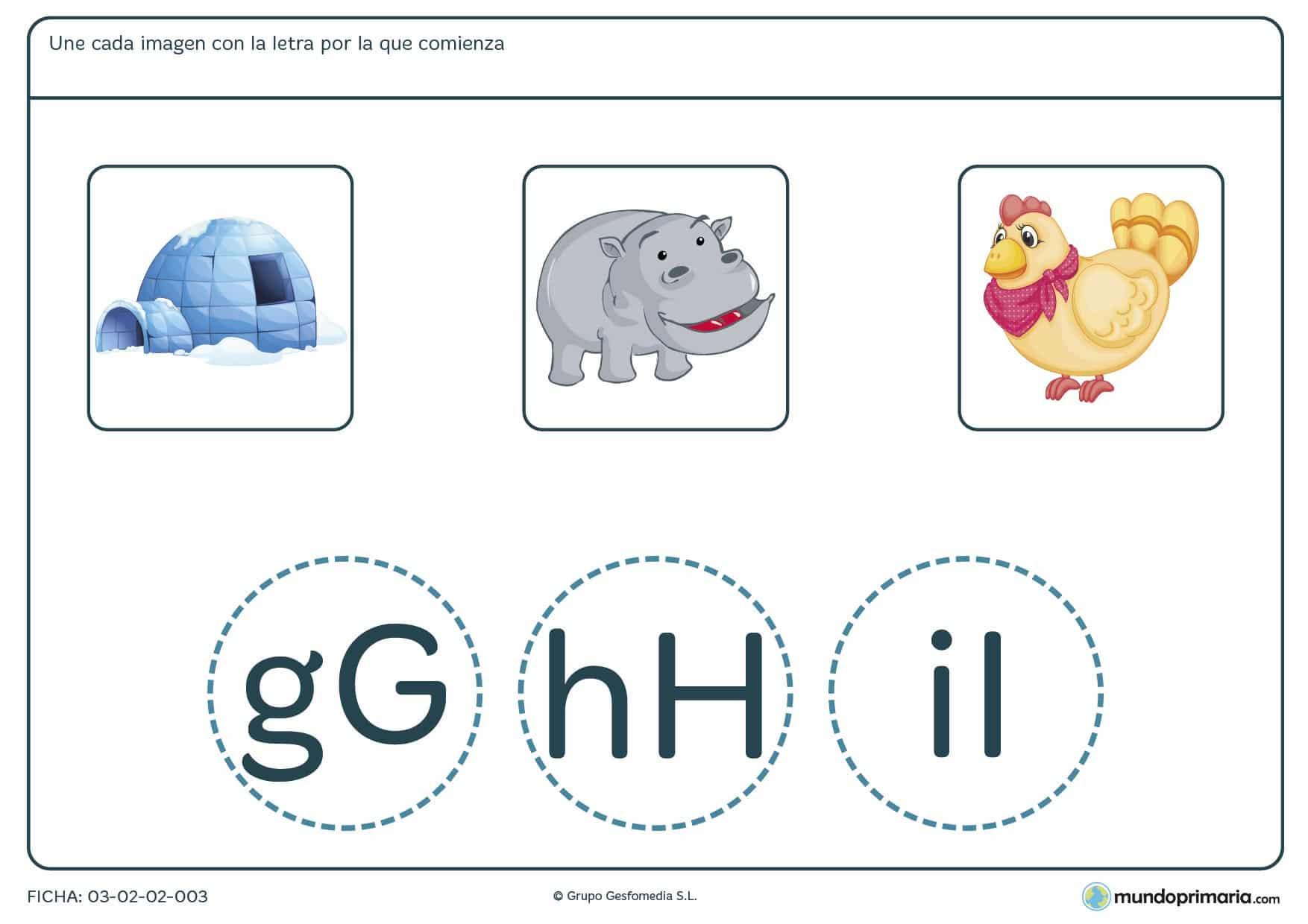 Ficha de señalar la imagen según la letra de inicio para aprender ortografía castellana en primer curso de Primaria