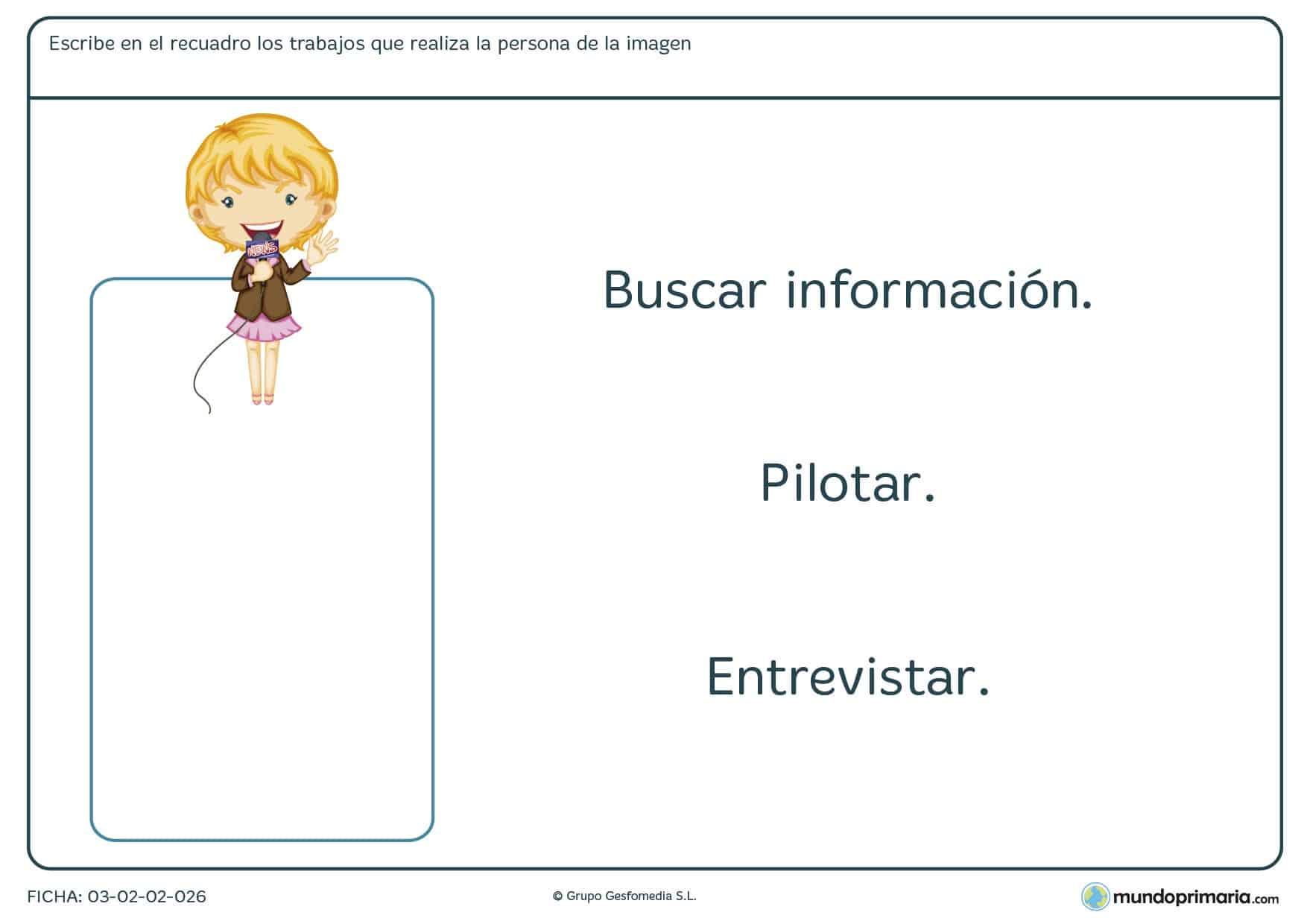 Ficha de trabajos y funciones para aprender las profesiones y sus tareas para ampliar vocabulario en 1º de Primaria.