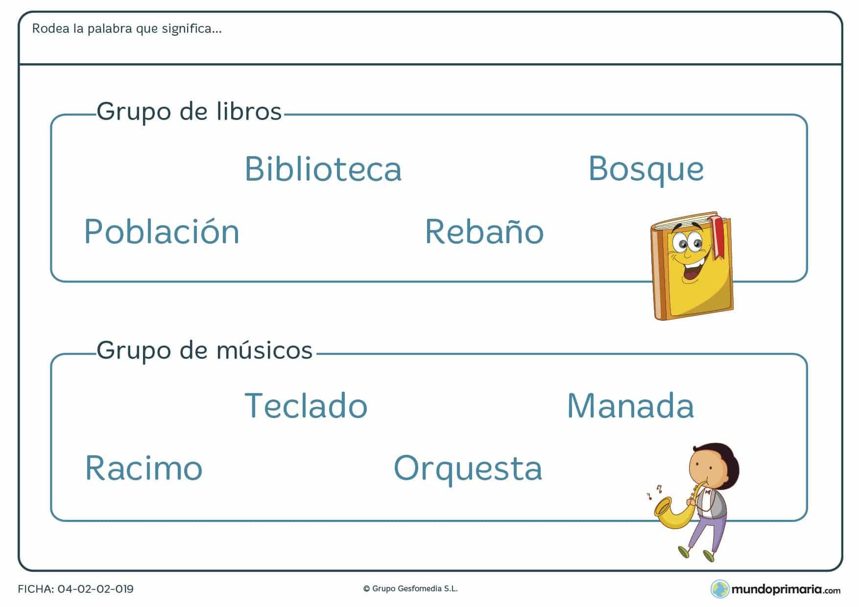 Ficha para niños de primaria de unir la palabra con el grupo de objetos en la que tendrás que identificar qué palabra designa al grupo de objetos especificado en el enunciado.