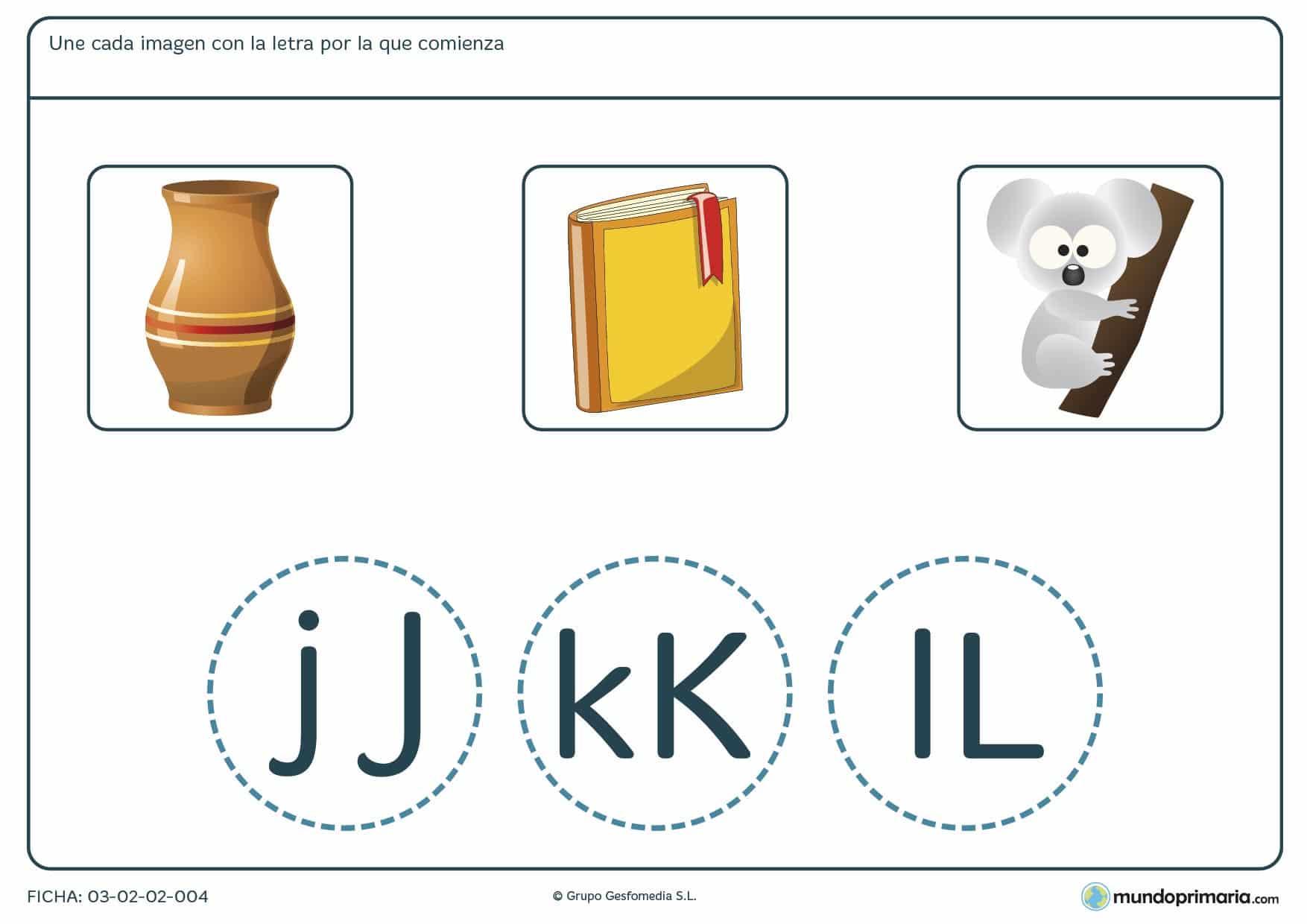 Ficha de unir cada imagen con su letra de inicio para aprender ortografía castellana de 1º de Primaria.