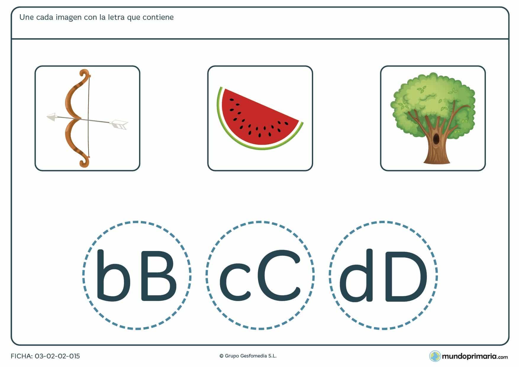 Ficha de unir las imágenes con su letra correspondiente para practicar ortografía y vocabulario en primer curso de Primaria.