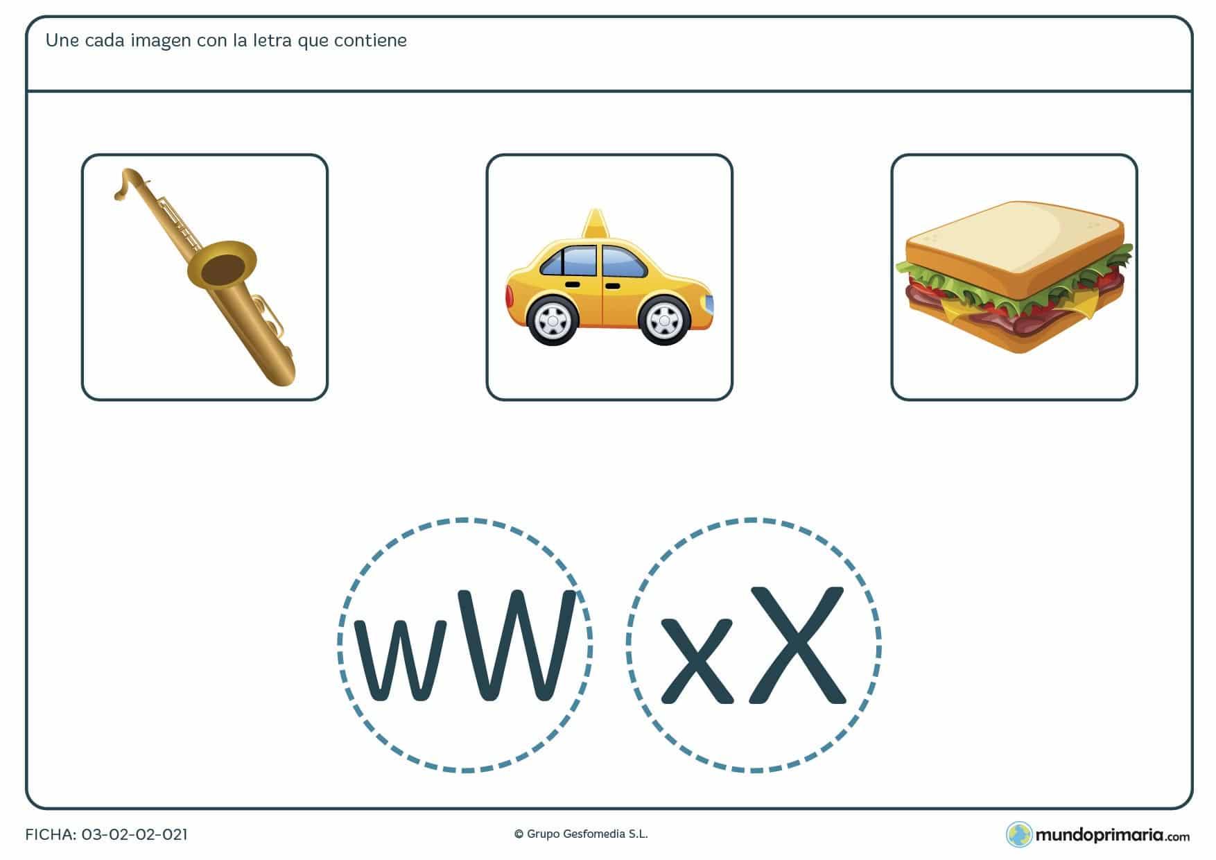 Ficha de unir letras y palabras para aprender vocabulario y ortografía en 1º de Primaria.