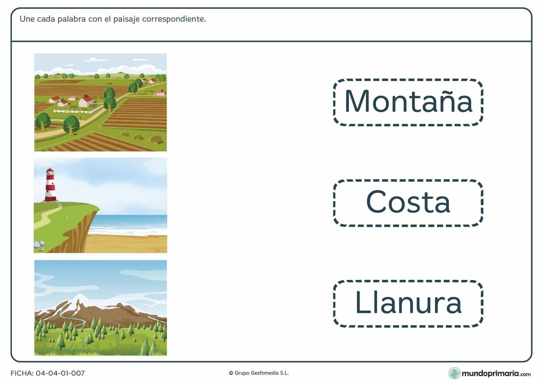 Ficha de unir paisajes en imágenes con sus correspondientes palabras.