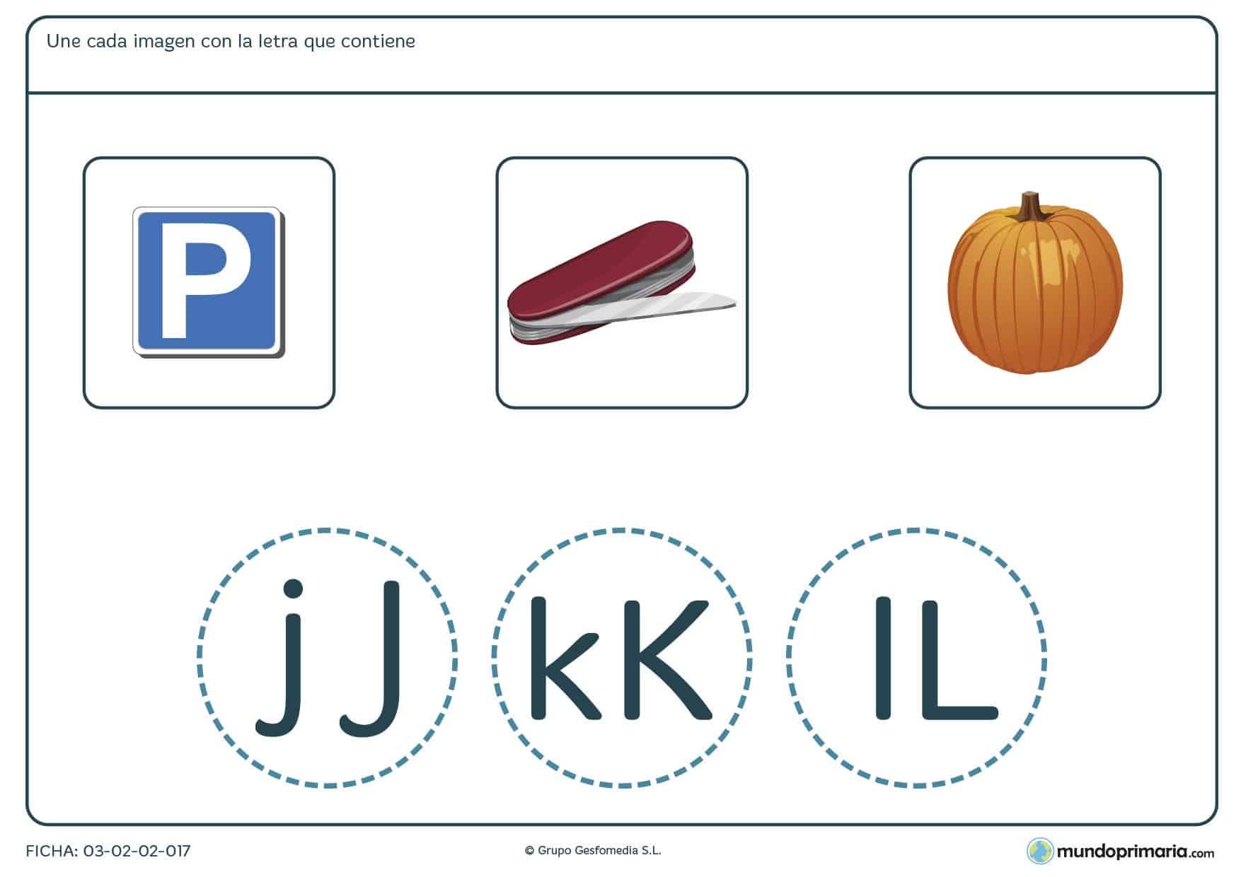 Ficha de unir palabras con sus letras para practicar vocabulario y ortografía en 1º de Primaria.