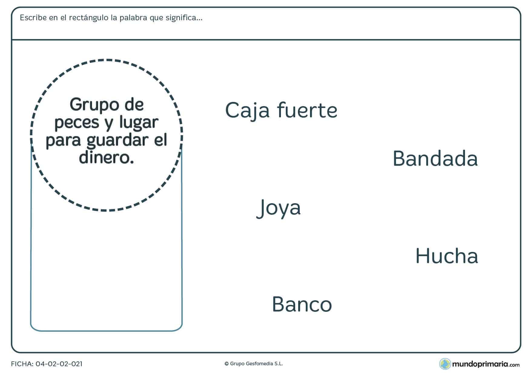 Primaria ejercicios vocabulario lengua segundo