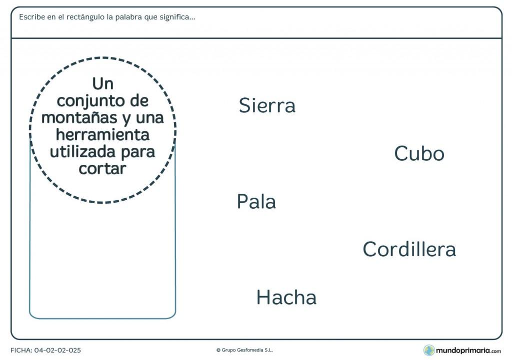 Ficha del significado de palabras para primaria