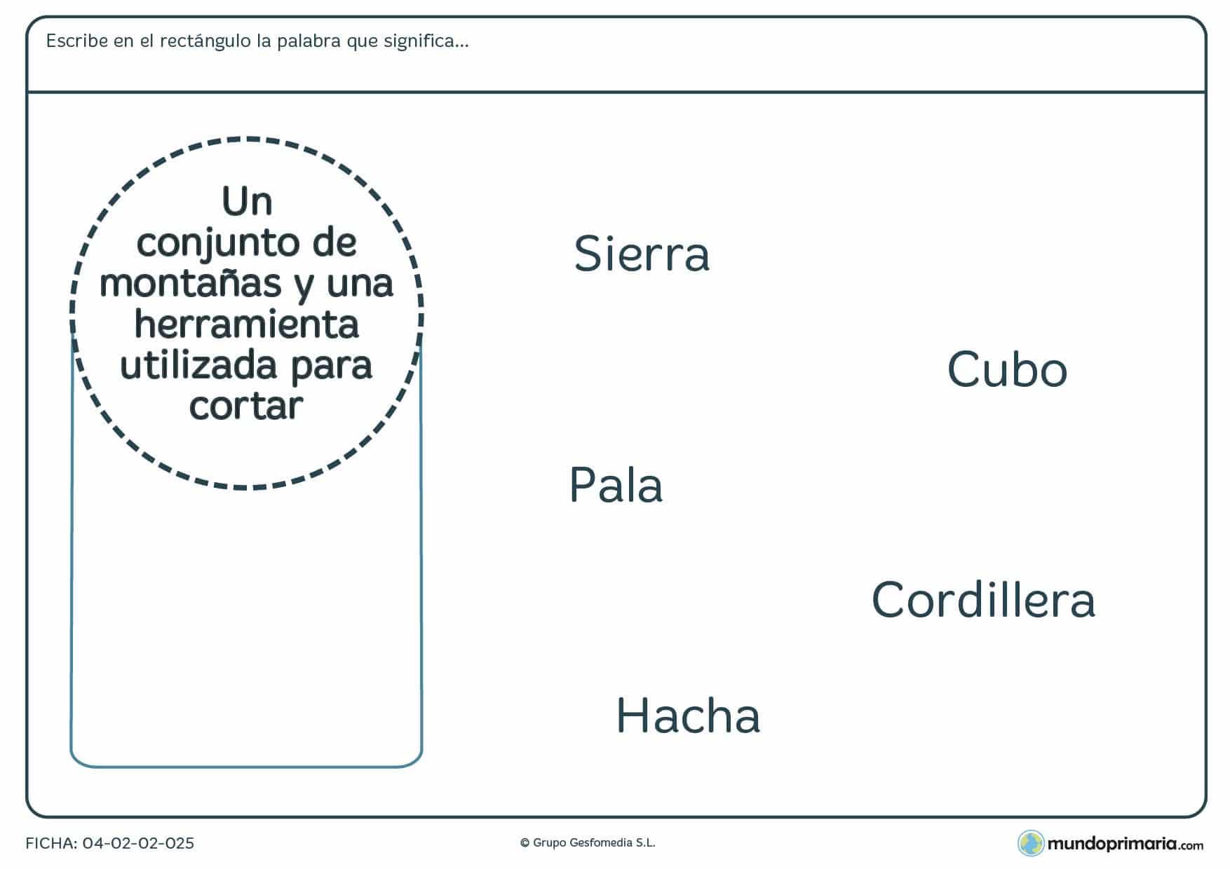 Ficha de niños de primaria del significado de palabras en la que tendrás que relacionar alguna de las palabras dadas con la descripción que aparece en el círculo.