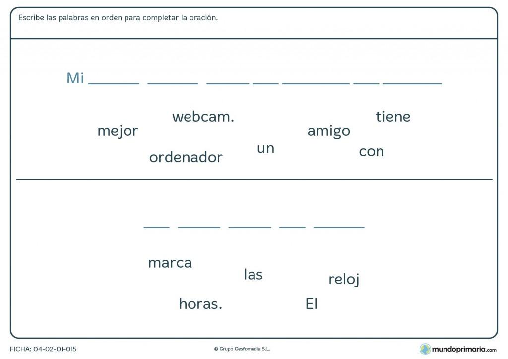 Ficha para completar con palabras para formar la frase para primaria