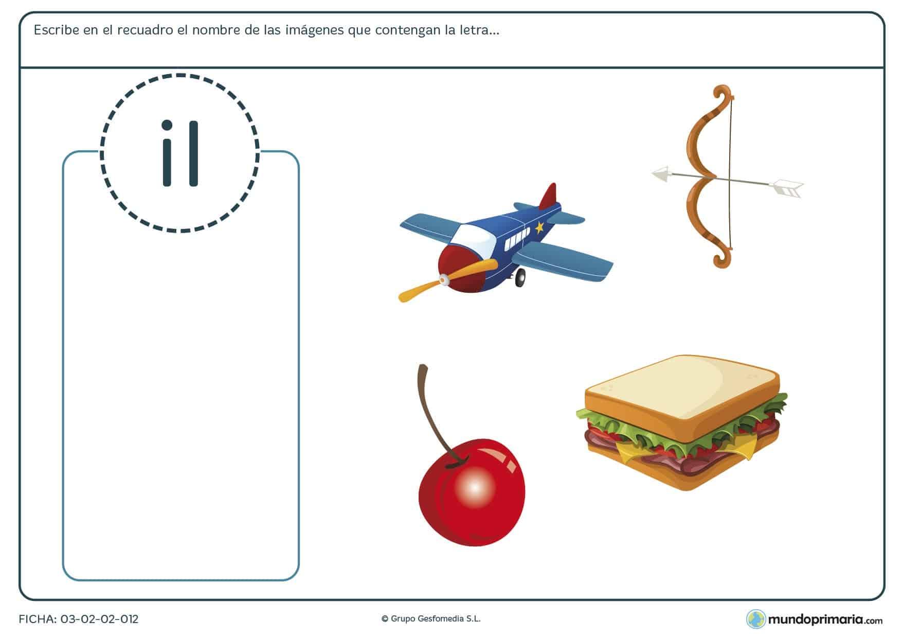 Ficha para escribir los sustantivos que contienen la letra i para practicar vocabulario y ortografía en 1º de Primaria.