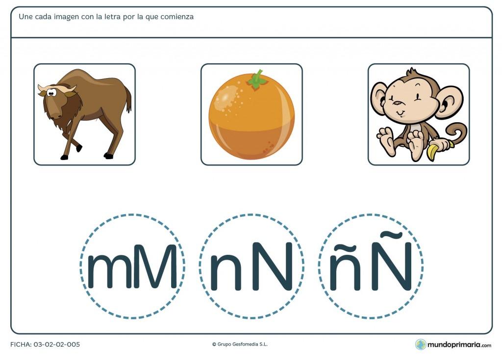 Ficha para identificar las iniciales de cada palabra para primaria