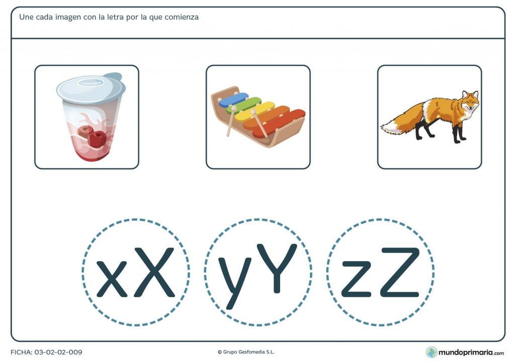 Ficha para relacionar imágenes con sus letras iniciales para primaria