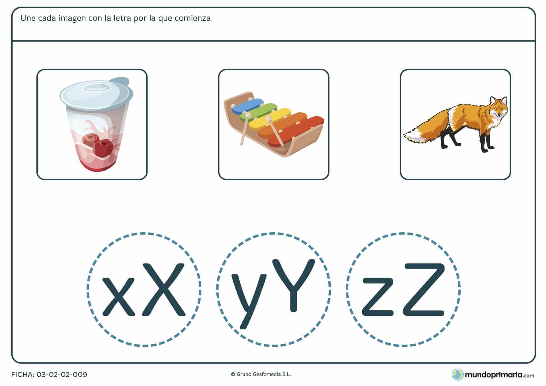 Ficha para relacionar imágenes con sus letras iniciales para aprender vocabulario en 1º Primaria.