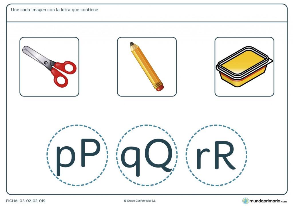 Ficha para unir letras e imágenes para primaria