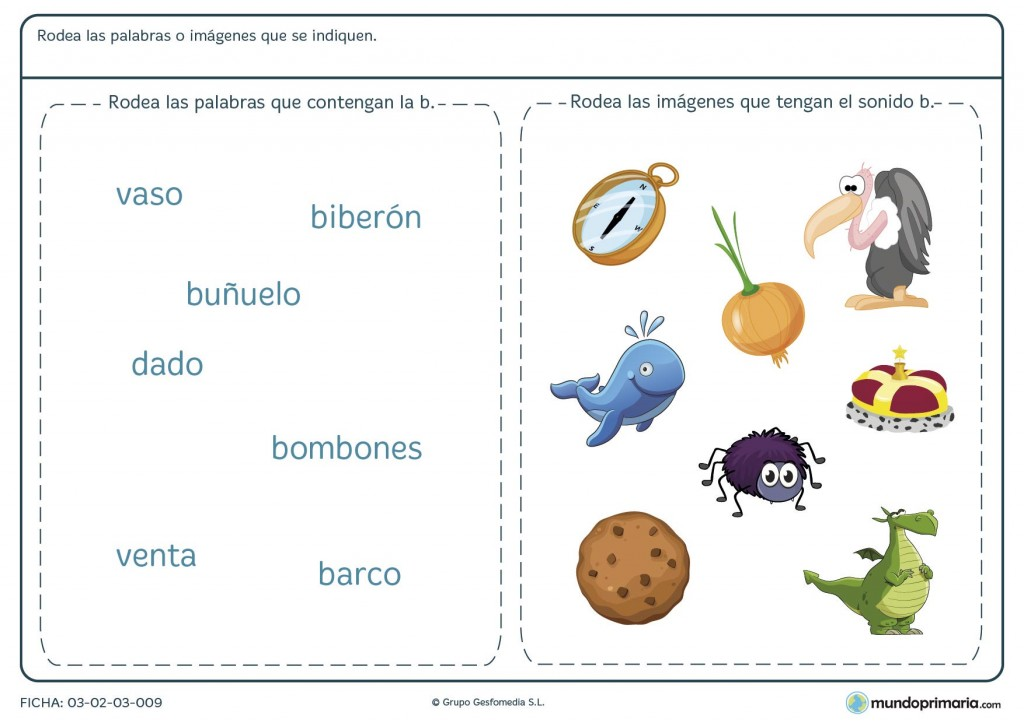 Ficha sobre la letra B para primaria