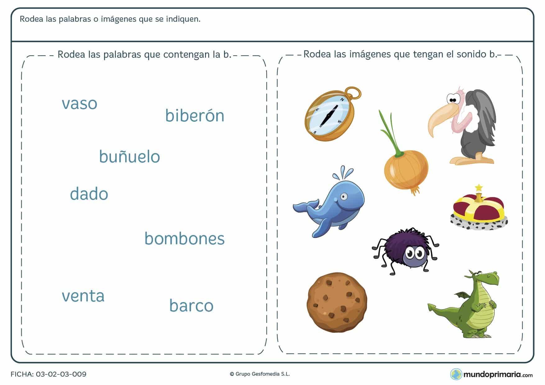 Ficha sobre la letra B para identificar las palabras e imágenes que contienen la letra B.