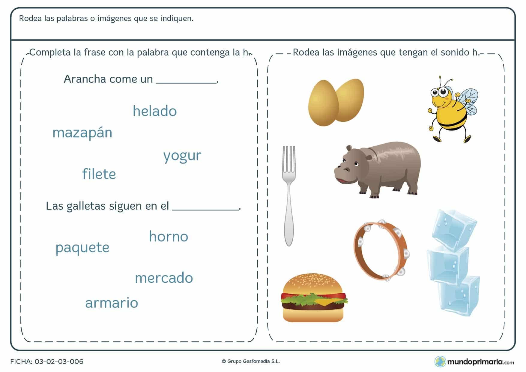 Ficha sobre palabras con la letra H para elegir palabras e imágenes con la H.