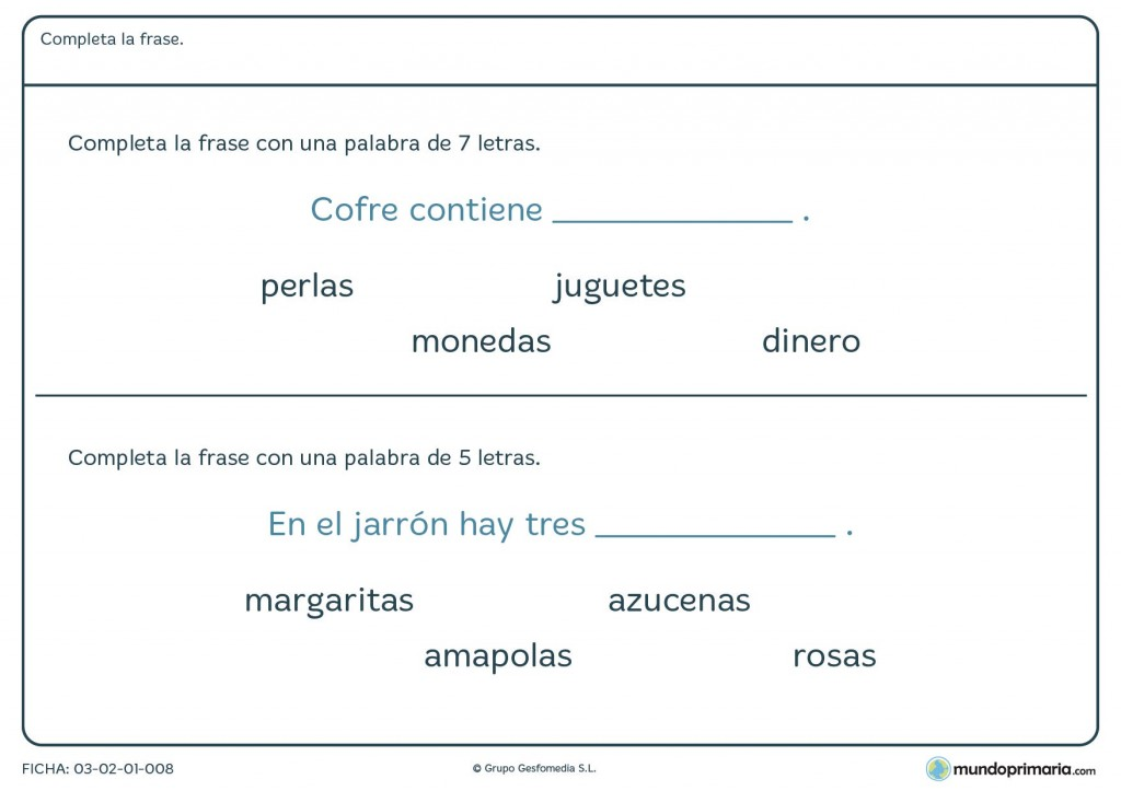 Ficha de terminar frases para 1º de primaria