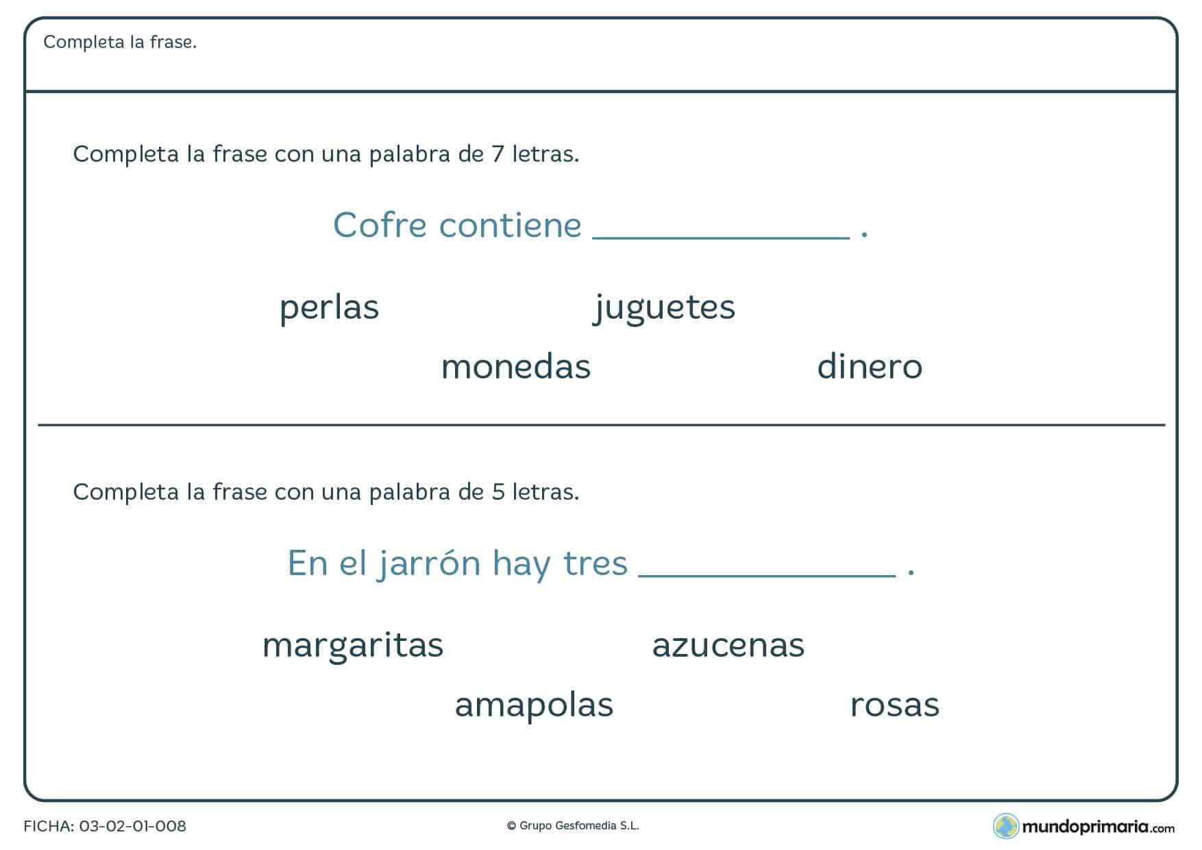 Termina la frase con la palabra adecuada con esta ficha de terminar la frase para repasar lenguaje de 1º de primaria