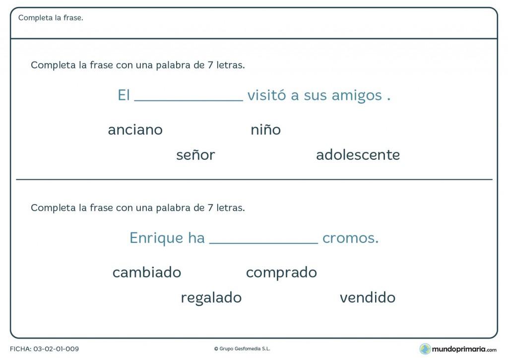 Ficha de completar con palabras para primaria