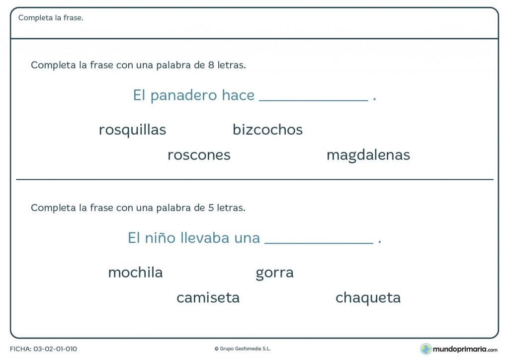 Ficha de frases incompletas para niños de 6 a 7 años