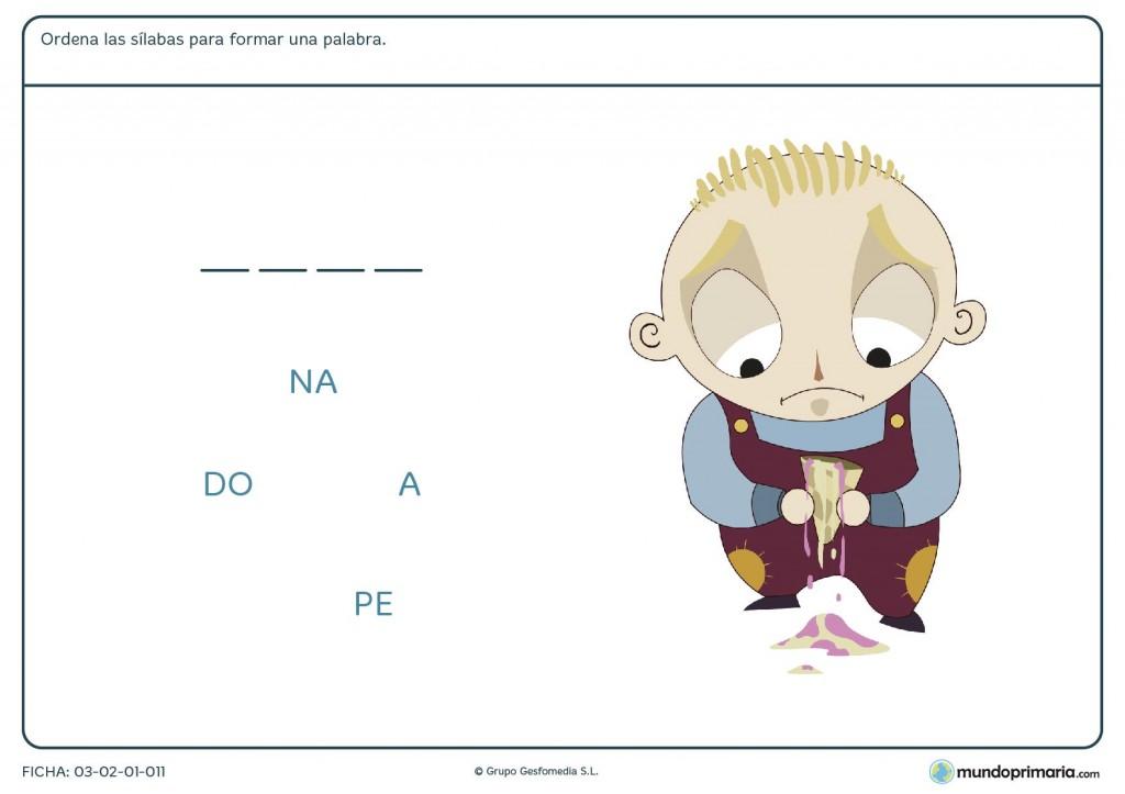 Ficha de ordenar sílabas para niños de primaria