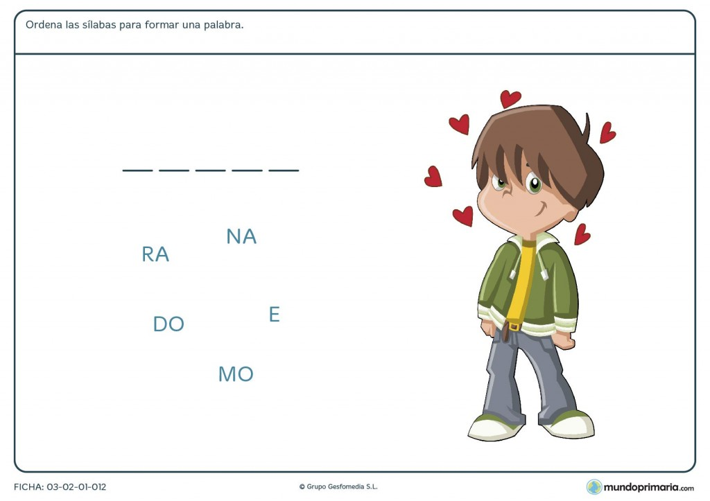 Ficha de formar palabras para primaria