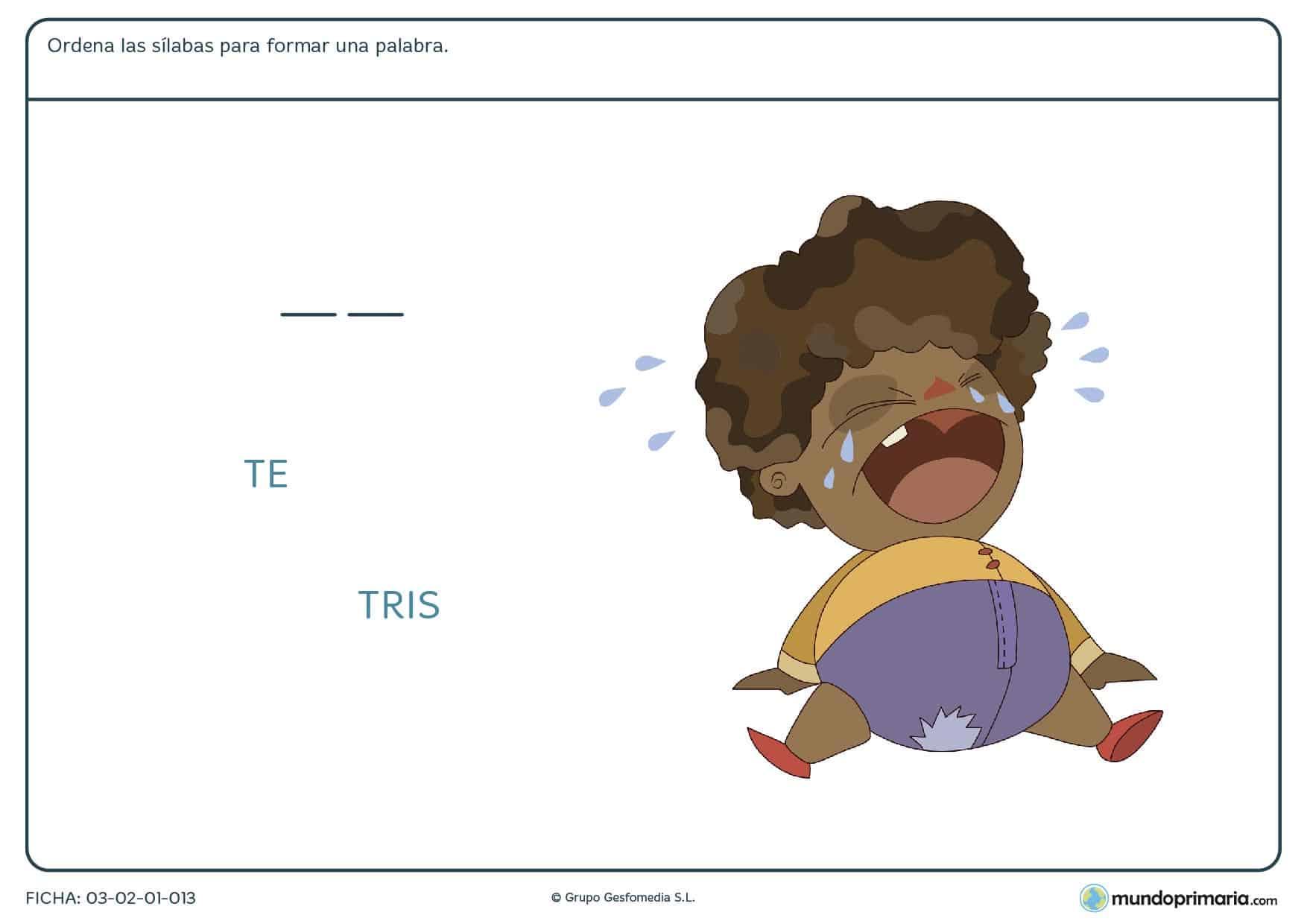 Rellena los huecos con esta ficha de rellenar sílabas para niños de 6 a 7 años