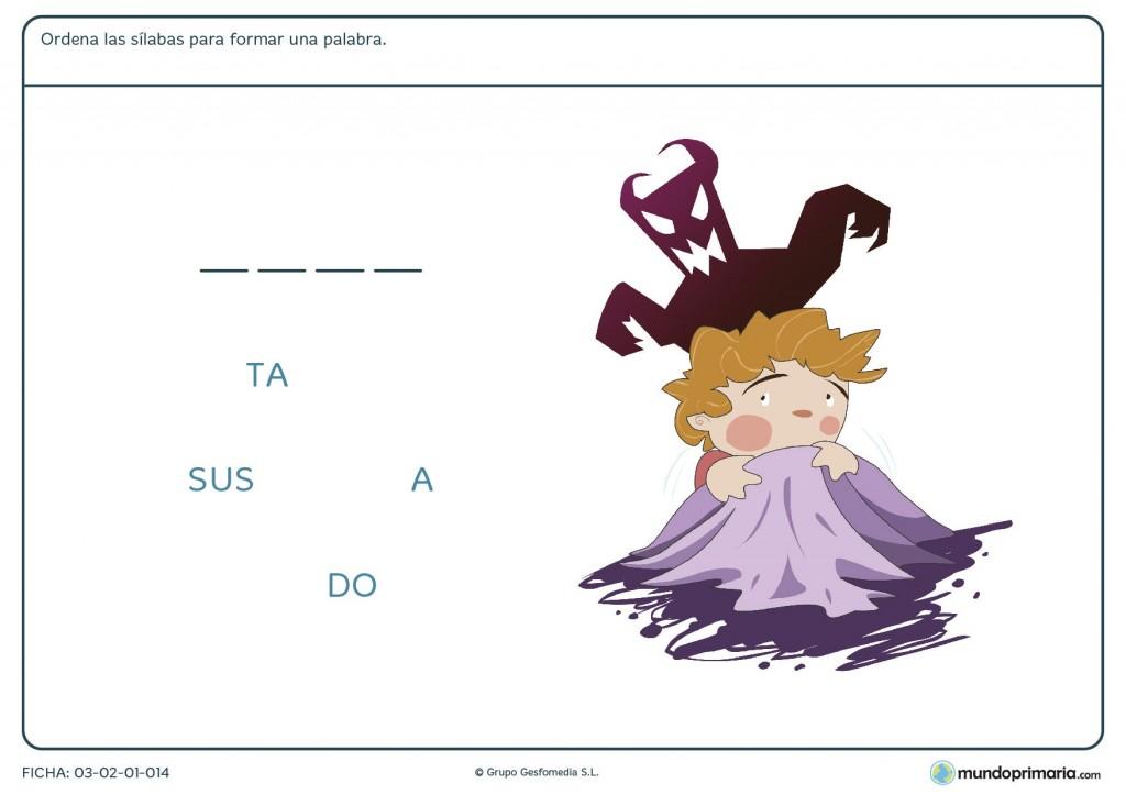 Ficha de completar palabras con sílabas para primaria