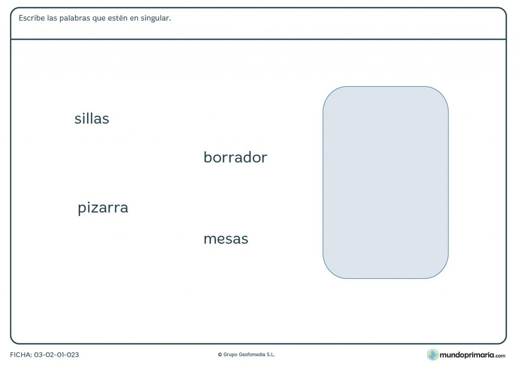 Ficha para aprender singular y plural para primaria