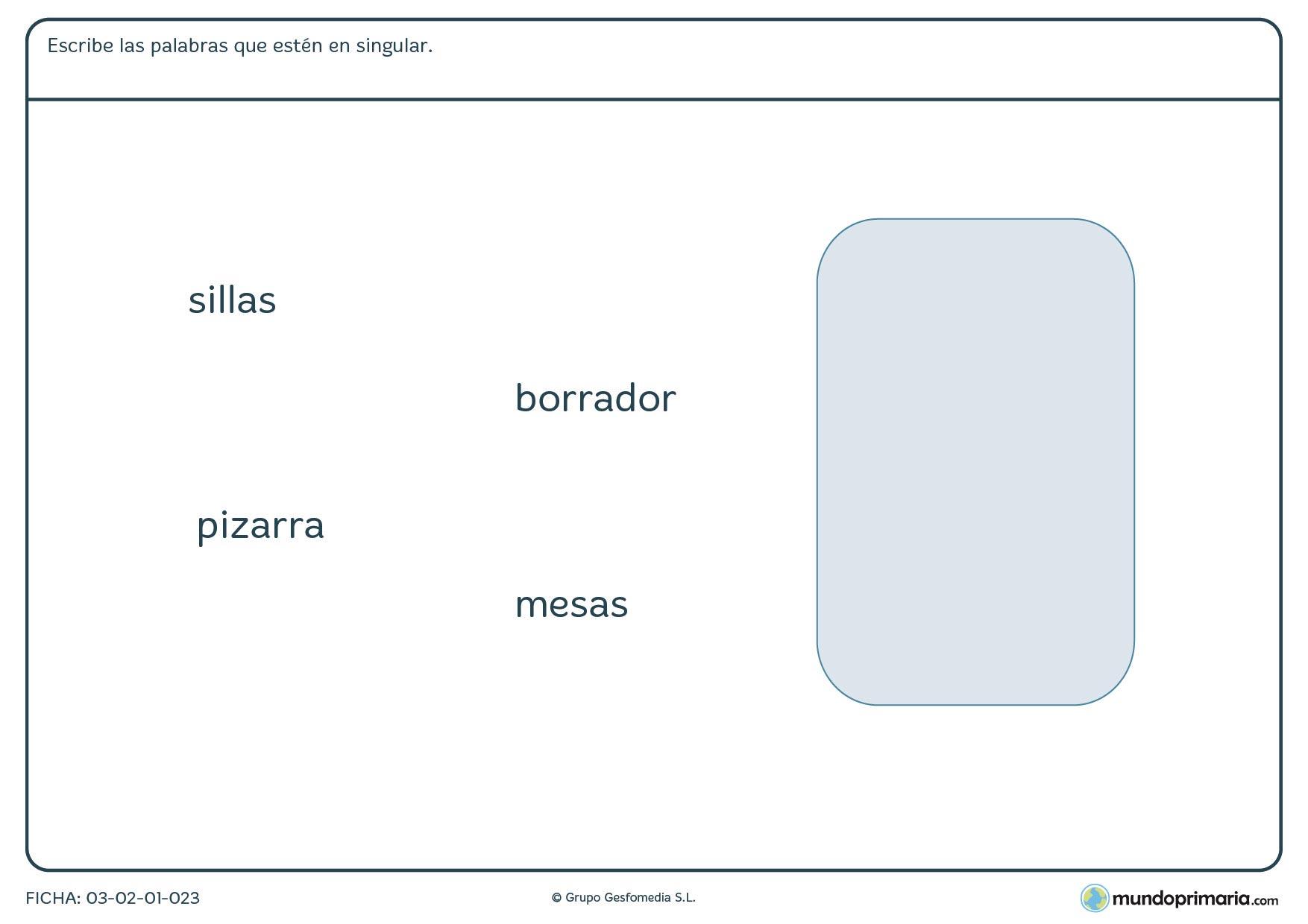 Repasa los singulares y plurales con esta ficha para aprender singular y plural para niños de primaria