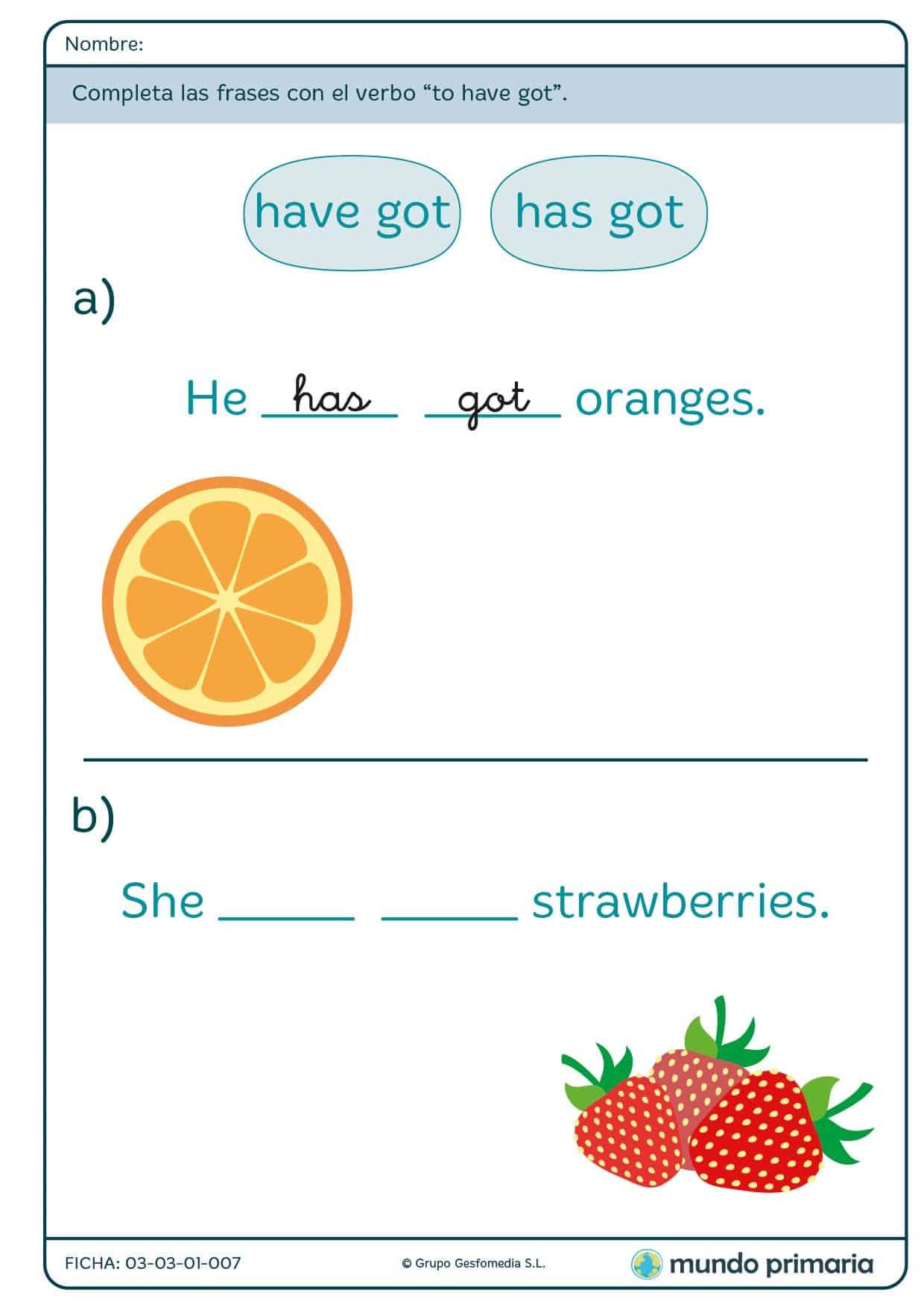 Ficha del verbo have got para primaria