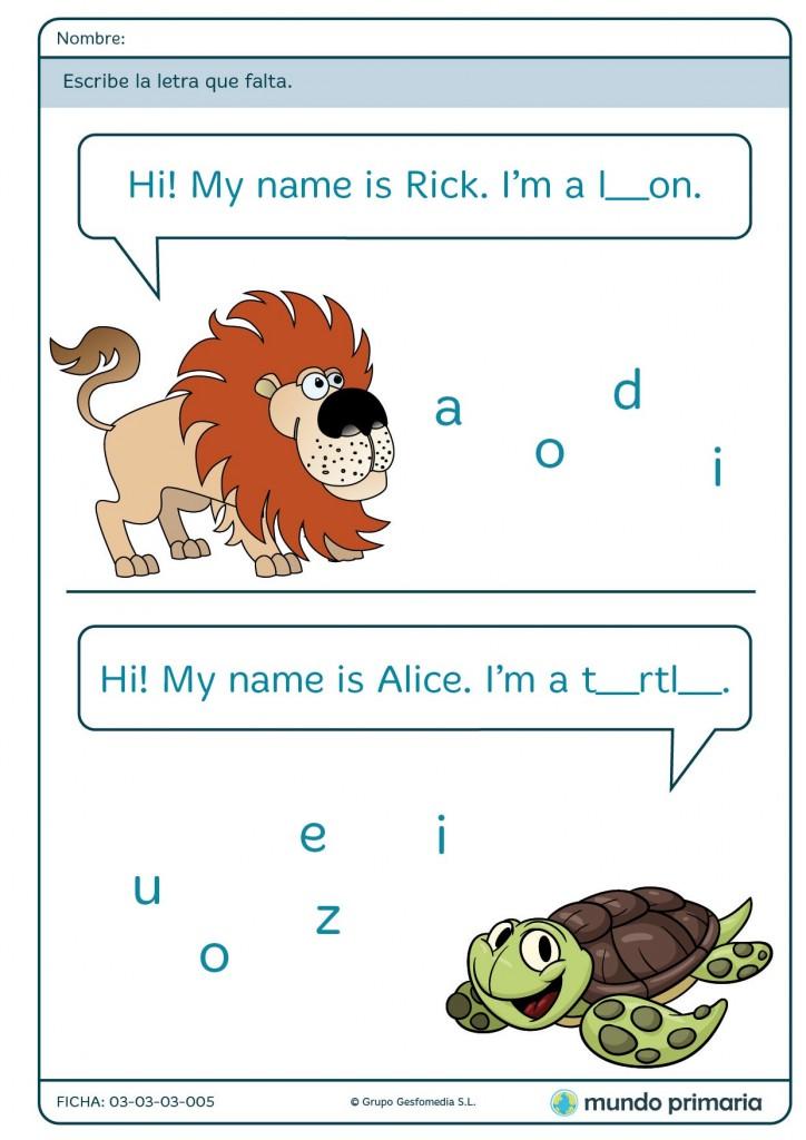 Ficha de componer nombres de animales para primaria
