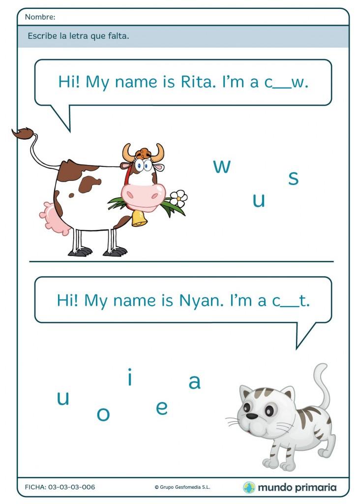 Ficha de los nombres de animales para primaria
