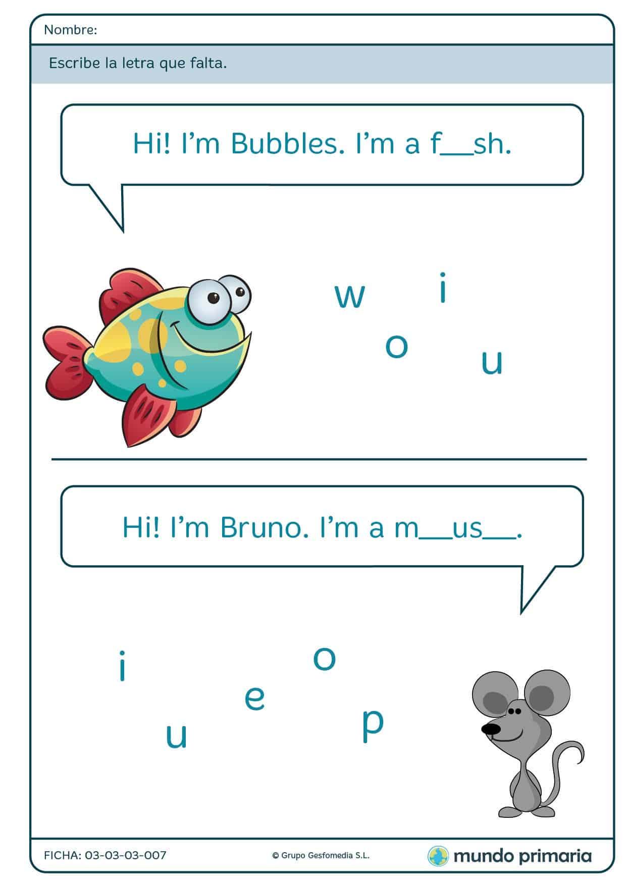 Ficha de escribir los nombres de animales para primaria