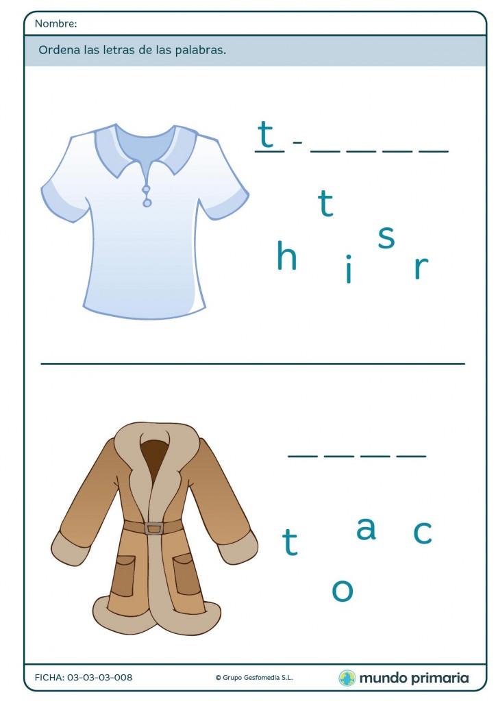 Ficha de ordenar las letras en palabras sobre ropa para primaria