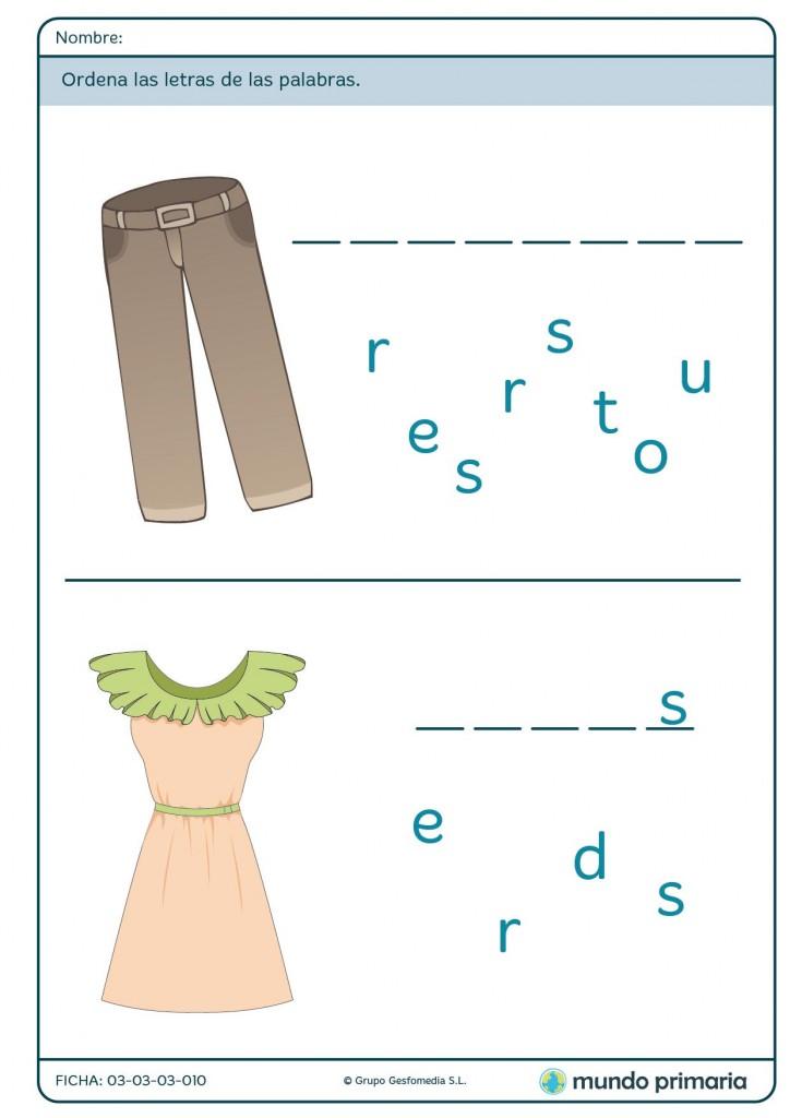 Ficha de palabras sobre ropa para primaria