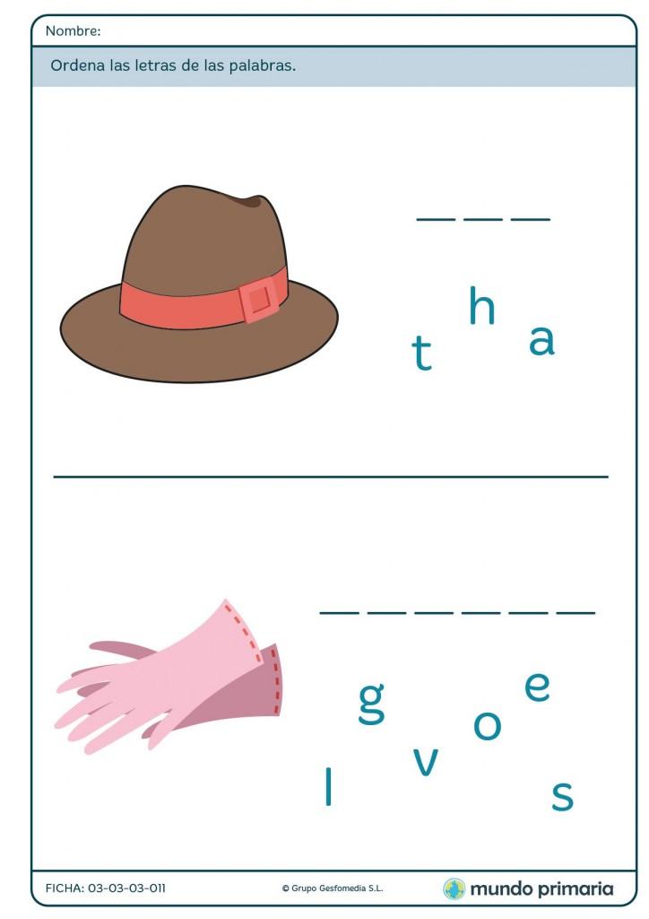 Ficha de completar palabras sobre ropa para primaria