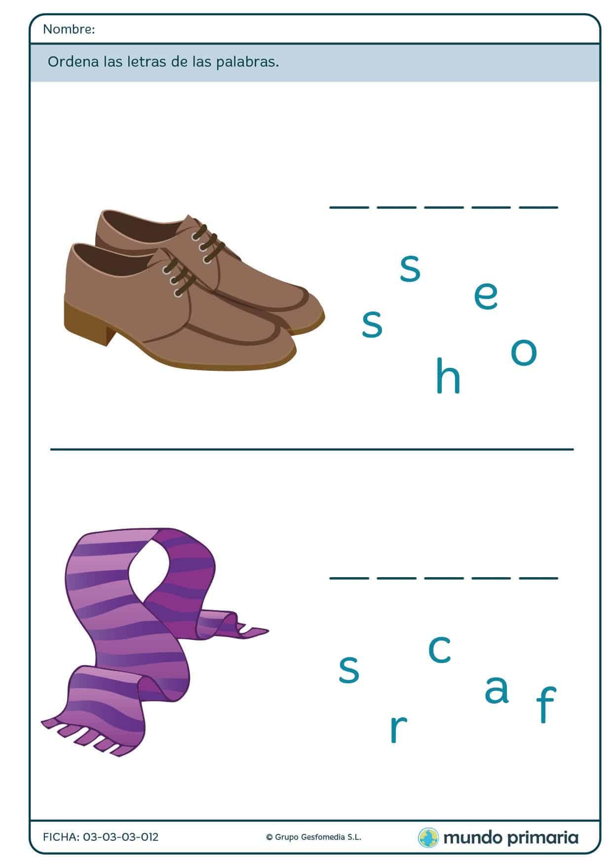 Ficha de componer palabras sobre ropa para primaria