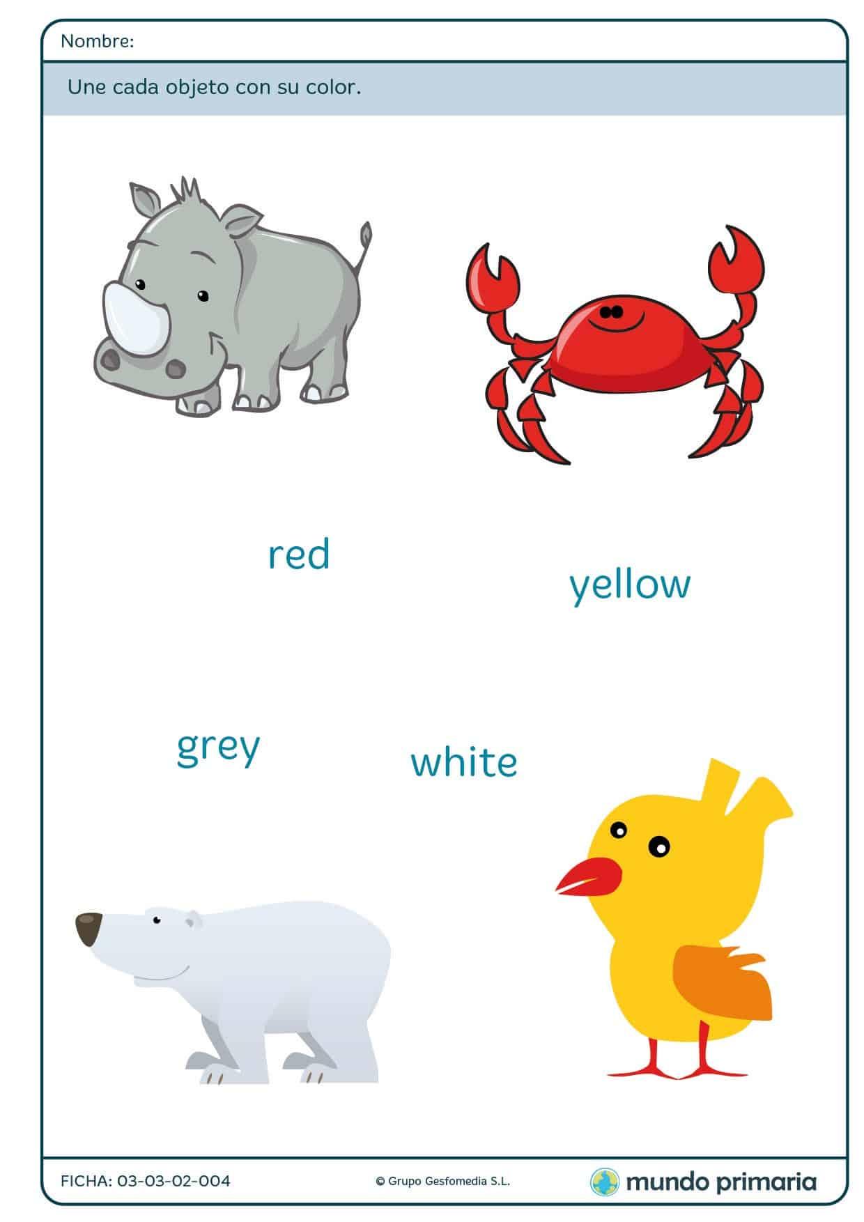 Ficha de unir cada animal con su color para primaria