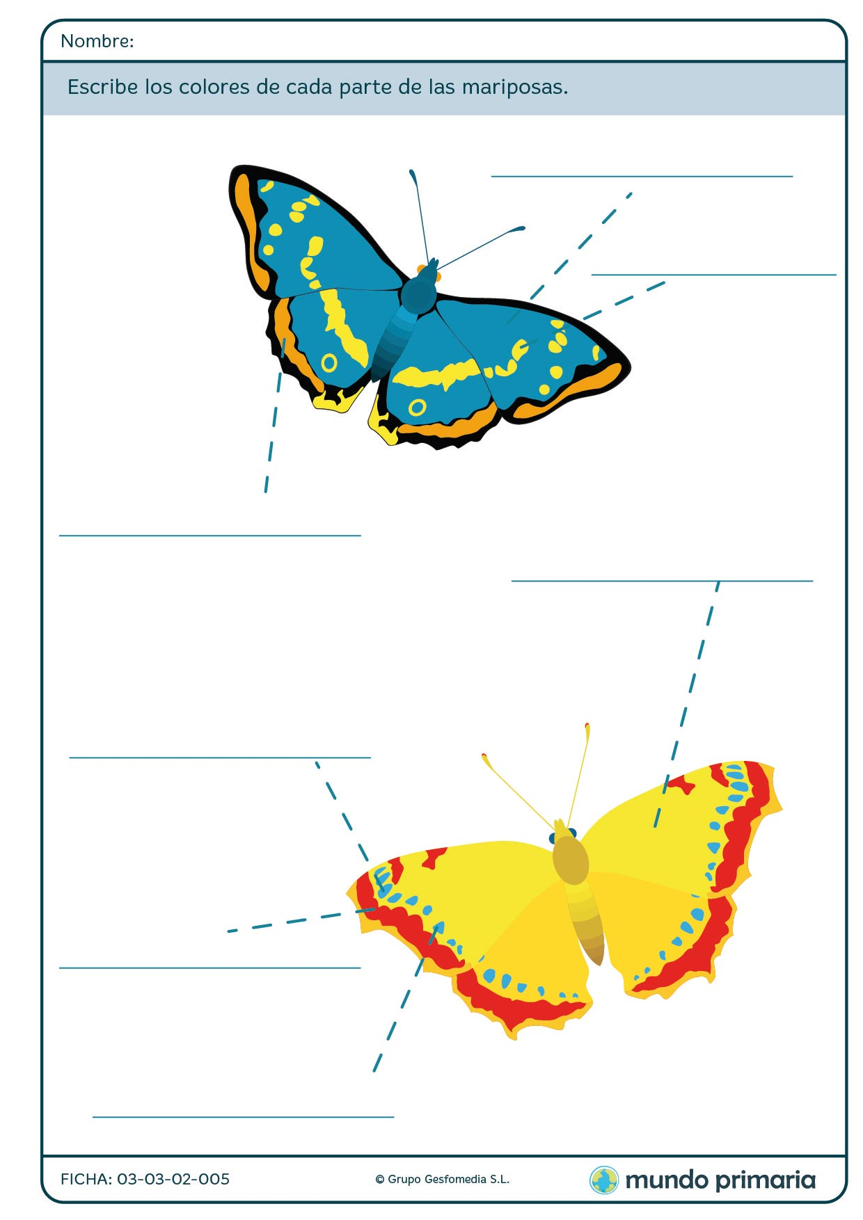 Ficha de escribir los colores de las mariposas para primaria