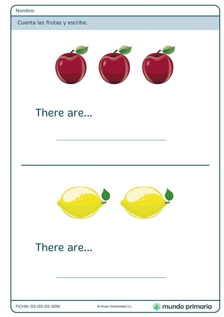 Ficha de enumerar frutas para primaria
