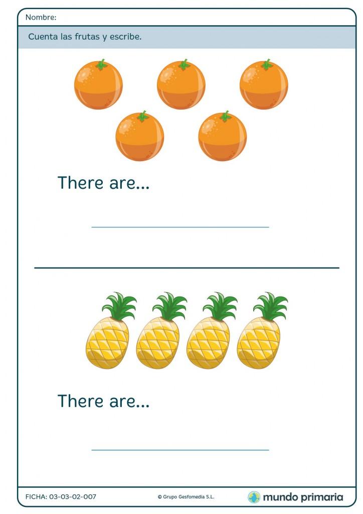 Ficha de identifcar el número de frutas para primaria