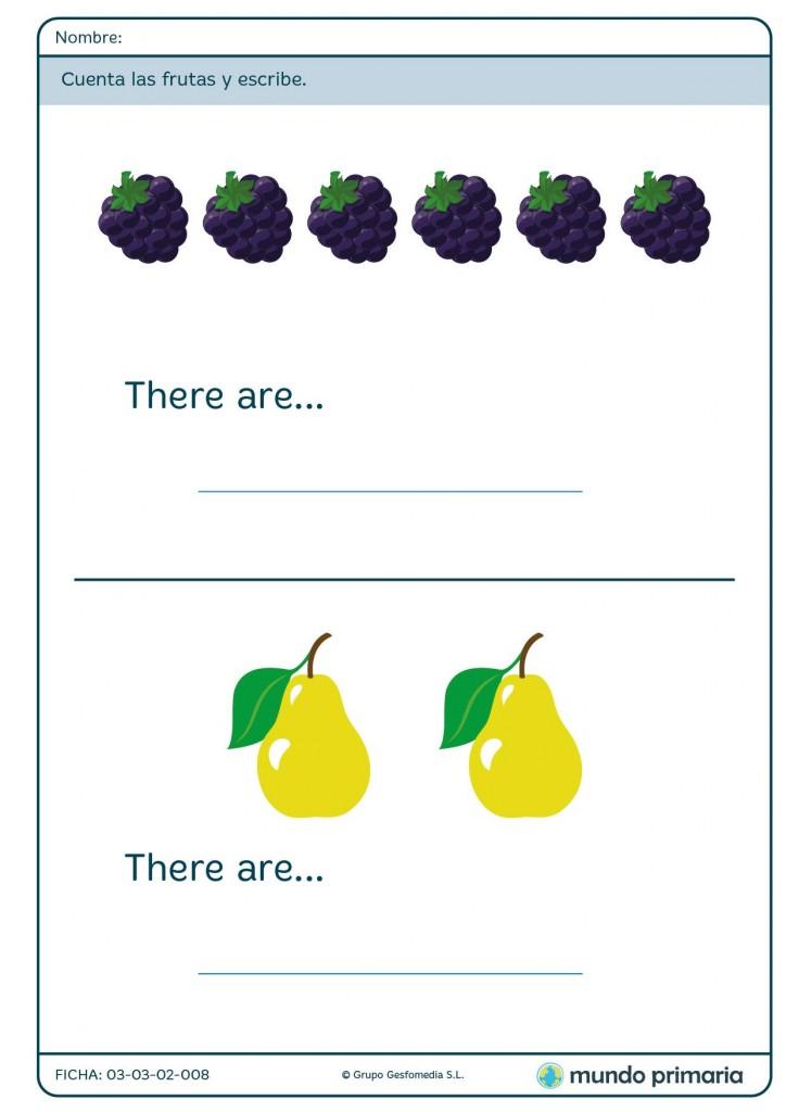 Ficha de contar frutas para primaria