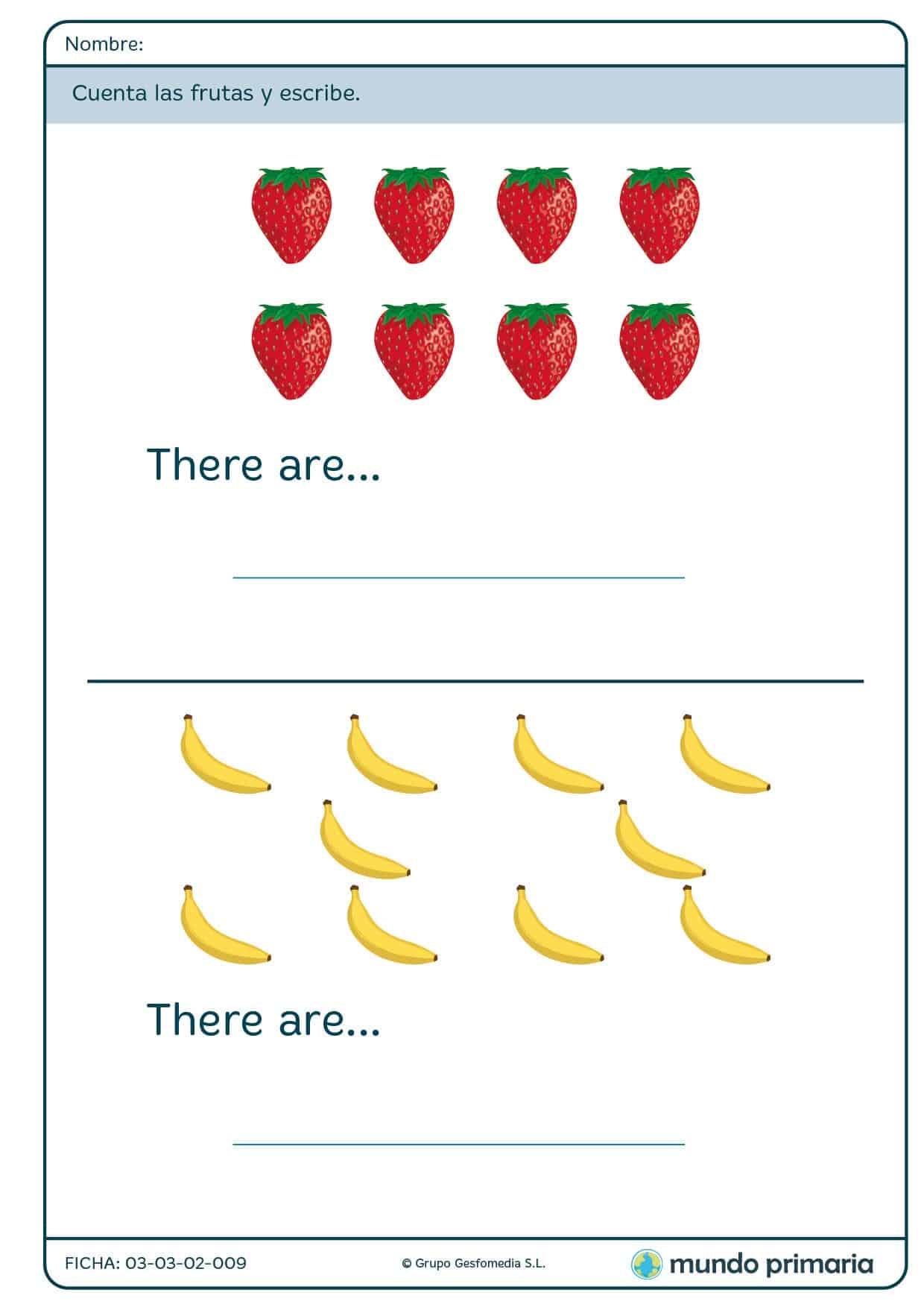 Ficha de cuantificar frutas para primaria