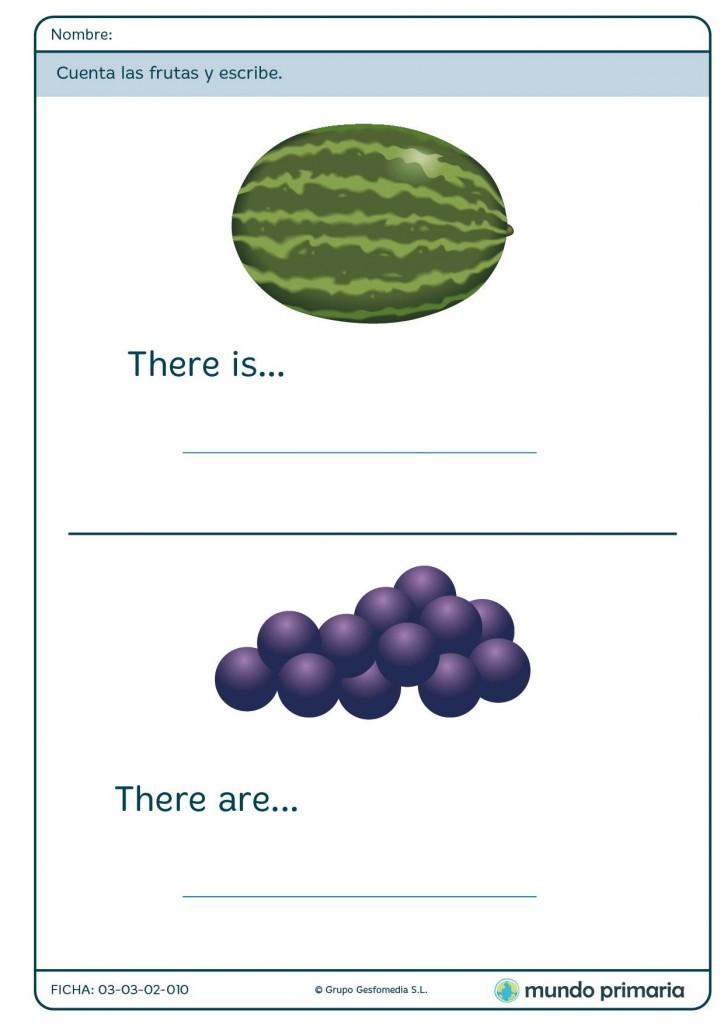 Ficha de cantidades de frutas para primaria