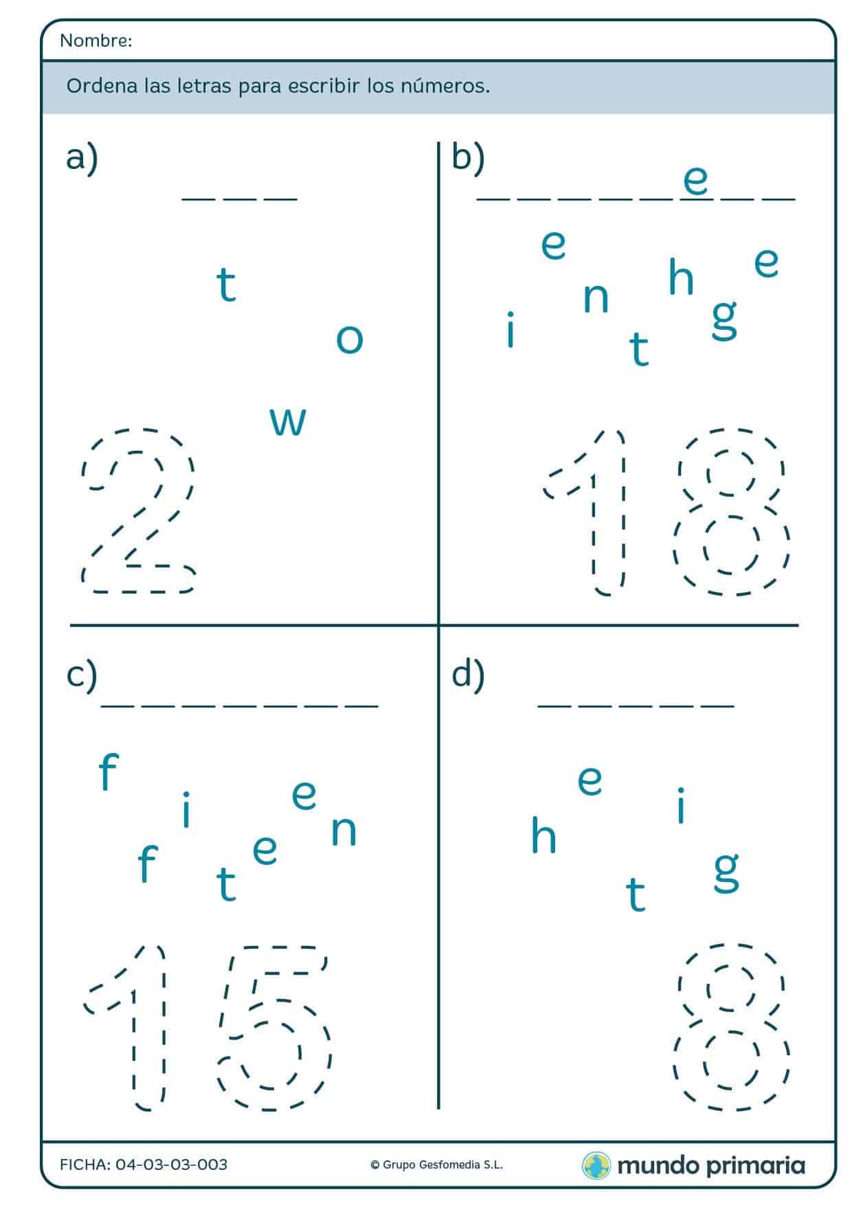 Ficha de ordenar letras para escribir números para primaria
